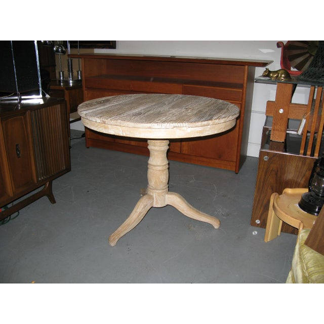 White Round Distressed Table For Sale - Image 4 of 9