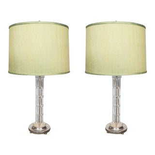Pair of Glass and Silver Plate Lamps