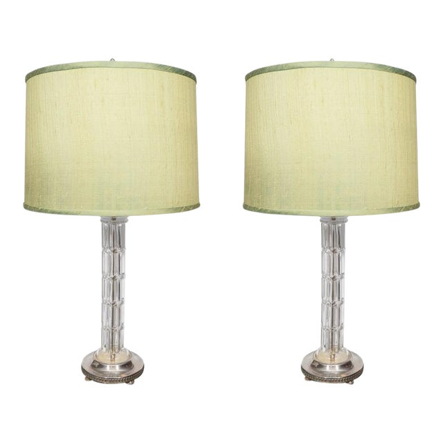 Pair of Glass and Silver Plate Lamps For Sale
