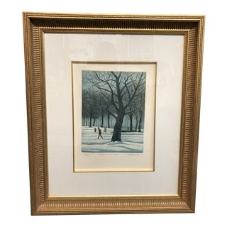 """1980s Landscape Lithograph Print """"Figures in the Snow"""" by Harold Altman For Sale"""