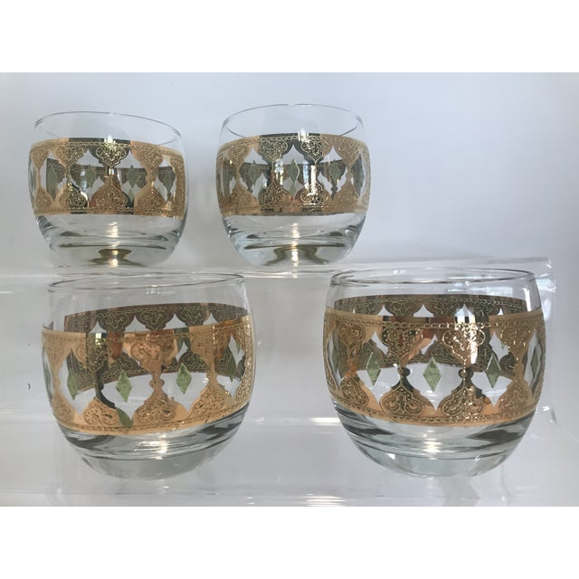 1950s Culver Valencia Green and 22k Gold Roly Poly Cocktail Glasses - Set of 4 For Sale - Image 10 of 10