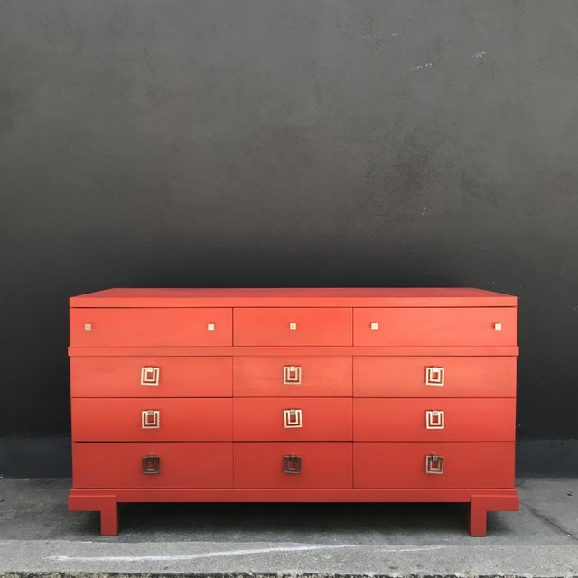 Mid Century Restored Lacquered 12~Drawer Dresser For Sale - Image 12 of 13