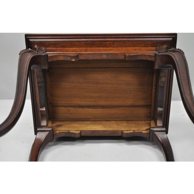 Mahogany Antique Dutch Marquetry Inlaid French Louis XV Style Carved Walnut Side Table For Sale - Image 7 of 13