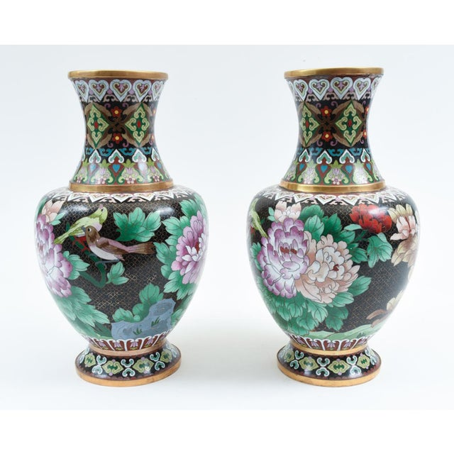 Mid 20th Century Mid-20th Century Colorful Cloisonné Decorative Vases - a Pair For Sale - Image 5 of 13