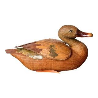 Vintage Mid-Century Zhejiang Chinese Mallard Duck Basket For Sale