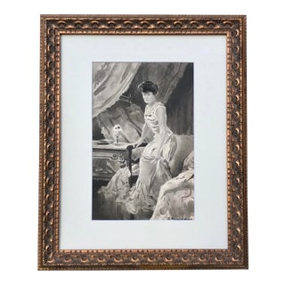 Antique Signed Victorian Watercolor Painting of a Woman in Her Boudoir For Sale