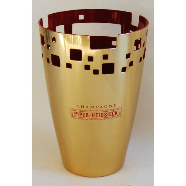 """French Champagne ice bucket. Front reads """"Champagne Piper-Heidsieck."""" Bottle in photo not included. Excellent condition."""