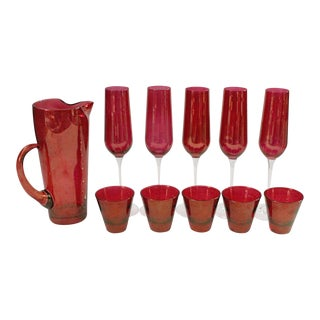 1960s Mid-Century Modern Red Iridescent Cocktail Set - 11 Pieces For Sale