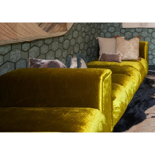 Boho Chic Custom Velvet Channel Tufted Double Lounge Daybed For Sale - Image 3 of 11