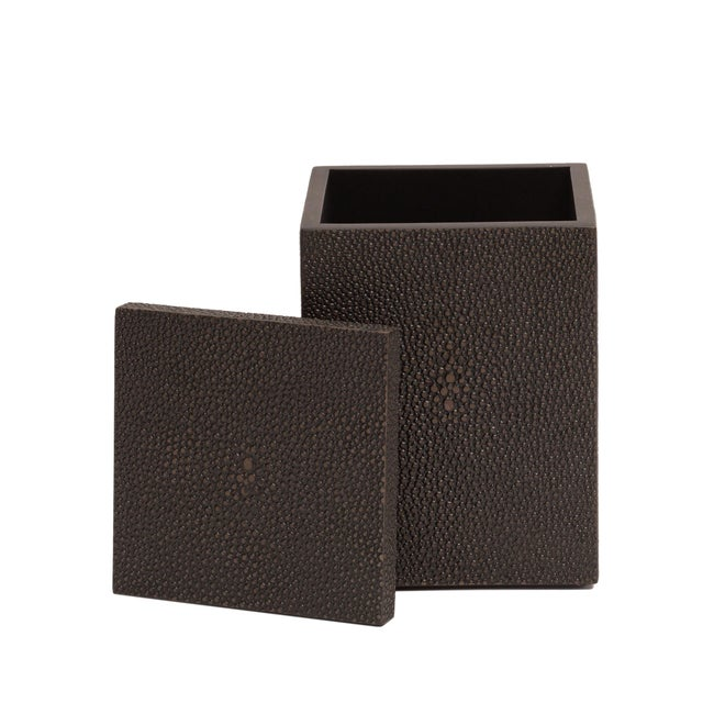 Faux Skin Shagreen Chocolate Cotton Wool Box For Sale - Image 4 of 5