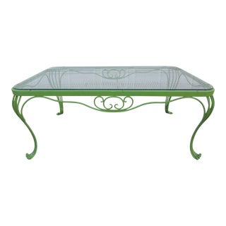 Woodard Frog Legged Glass Top Coffee Table For Sale
