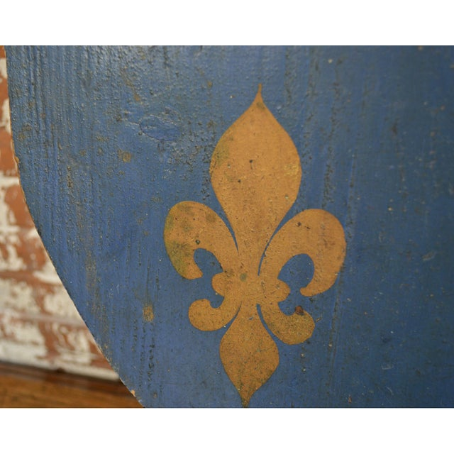 Blue Vintage French Painted Family Shield For Sale - Image 8 of 13