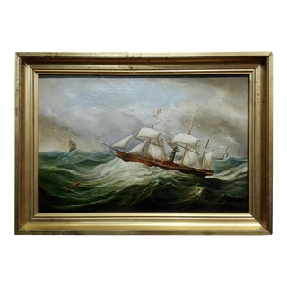 Military Sail & Steamboat in Choppy Waters -19th Century Oil Painting For Sale