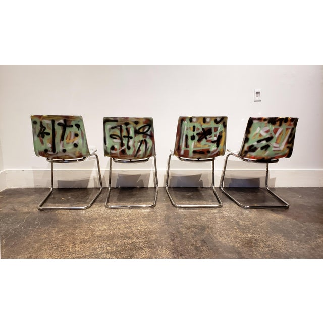 Graffitied Carl Ojerstam Chairs Painted by Artist Lionel Lamy For Sale In Dallas - Image 6 of 9