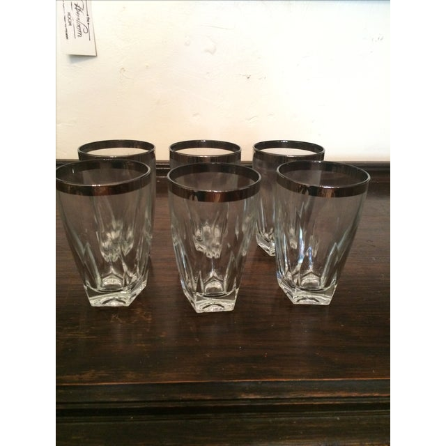 Silver Rimmed Tumblers - Set of 6 - Image 2 of 3