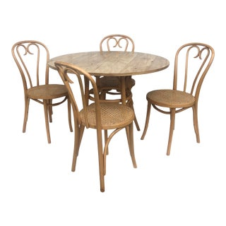 Vintage Boho Modern Dining Set- Four Chairs For Sale