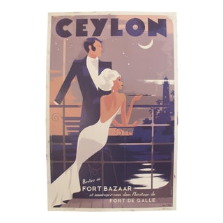 Danish Modern Travel Poster, Ceylon Sri Lanka For Sale