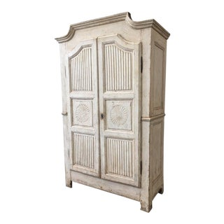 18th Century Italian Antique White Painted Armoire