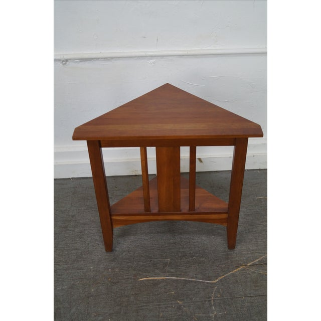 Ethan Allen Ethan Allen New Impressions Solid Cherry Triangle Corner Table For Sale - Image 4 of 10