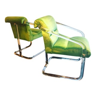 Vintage Signed Lion in Frost Hollywood Regency Lucite Brass Emerald Green Velvet Arm Chairs For Sale