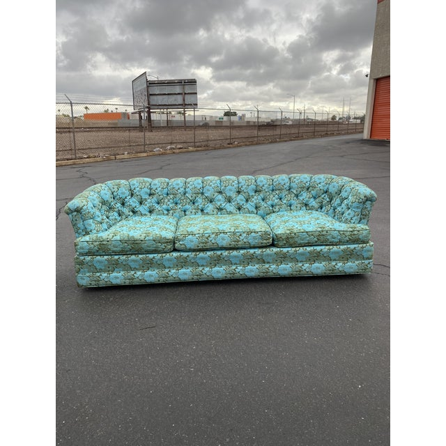 Vintage Tufted Floral Chesterfield Sofa For Sale - Image 13 of 13