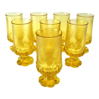 1970s Tiffin Franciscan Cornsilk Yellow Goblets - Set of 8 For Sale