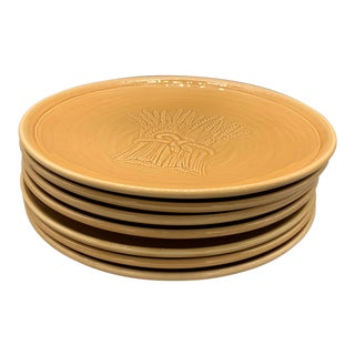 Franciscan Wheat Light Gold Harvest Dinner Plates Circa 1951 - Set of 6 For Sale