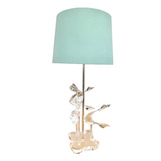 Vintage Lucite Abstract Coastal Table Lamp With Tiffany Blue Shade. For Sale