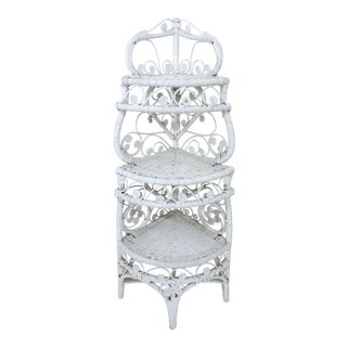 Old Heywood Wakefield White Wicker Three Tier Etagere, Corner Shelf or Plant Stand For Sale