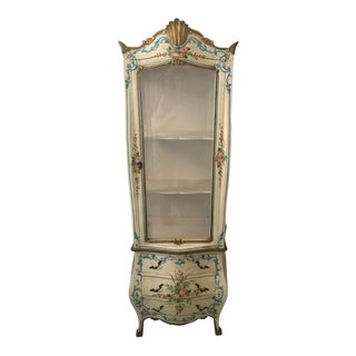 1960s Vintage Handpainted Venetian Curio Cabinet For Sale