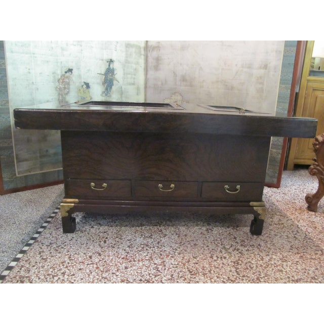 Japanese Dark Wood Grain Hibachi Coffee Table With Drawers For Sale - Image 11 of 11