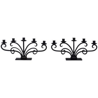 Mid 20th Century Scandinavian Modern Hand Forged Iron Six-Arm Candelabrum - a Pair For Sale