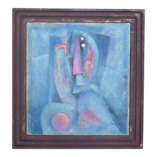 Mexican Modernism Blue Abstract Oil Painting by Byron Galvez, 06 For Sale
