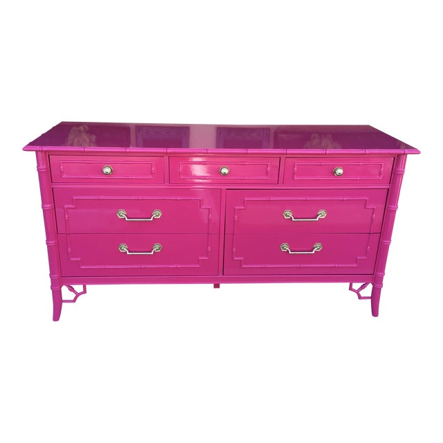 Faux Bamboo High Gloss Pink Dresser For Sale