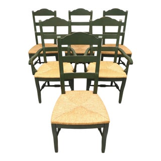 Drexel Heritage Cottage Style Dining Chairs Green With Rush Seats - Set of 6 For Sale
