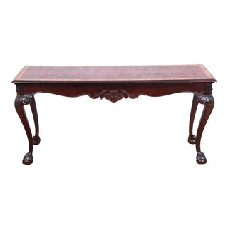 Henredon Chippendale Style Carved Mahogany Console or Sofa Table For Sale
