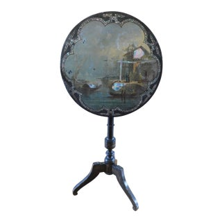 Mother of Pearl and Papier Mache Antique Scenic Tilt Top Table For Sale