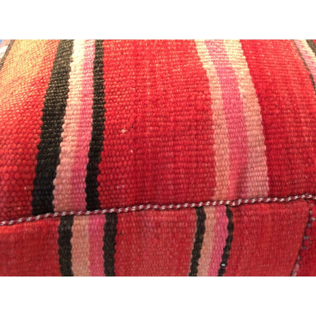 Red Moroccan Kilim Floor Pillow #2 For Sale - Image 4 of 5