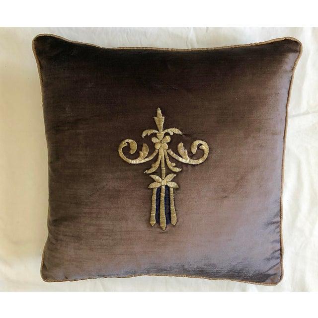 19th Century Dark Grey Velvet Pillow For Sale - Image 11 of 11