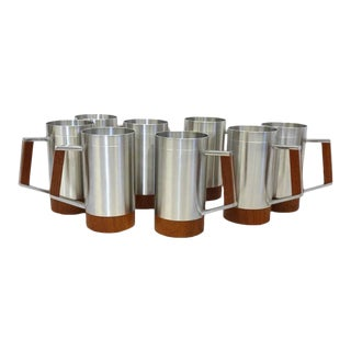 Eight Dansk Modernist Aluminium With Teak Cups or Mugs For Sale