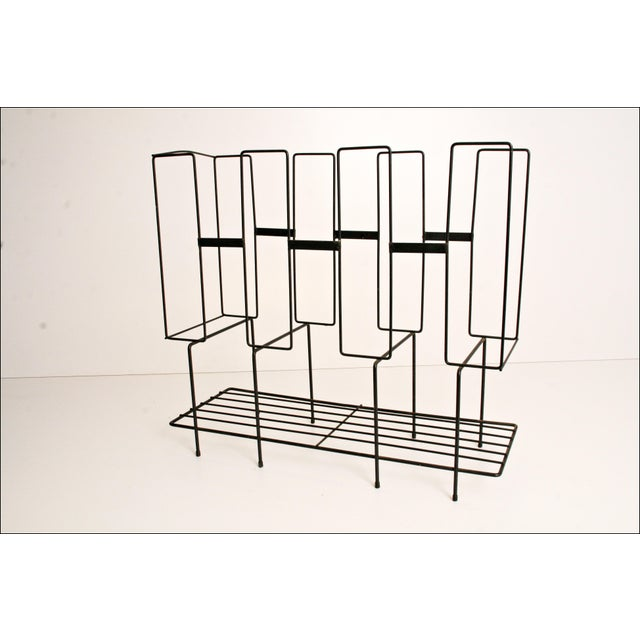 Mid-Century Modern Black Wire Record Rack For Sale - Image 5 of 11