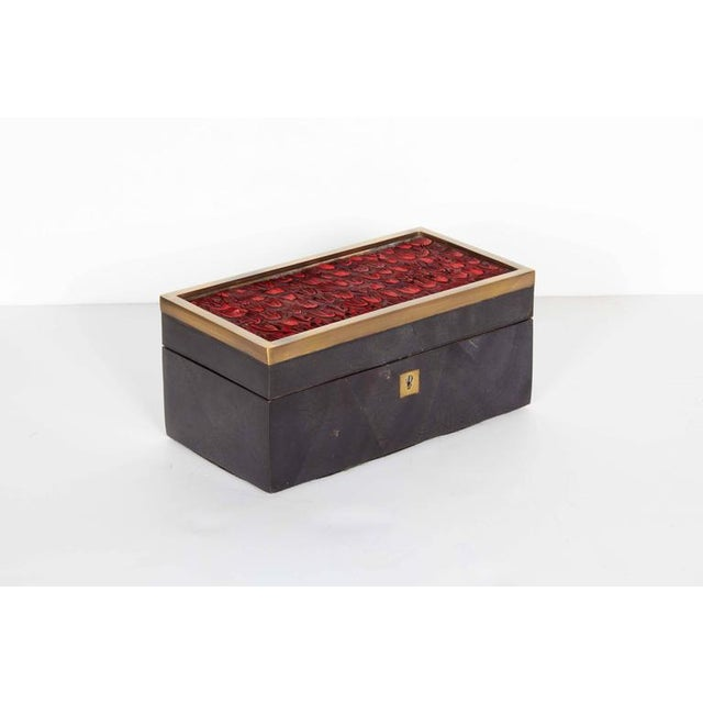 Gold Organic Modern Decorative Box in Lacquered Pen Shell and Exotic Red Feathers For Sale - Image 8 of 9
