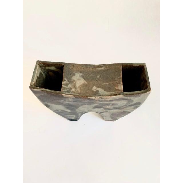 Green Vintage Ceramic Ikebana Sculptural Vase For Sale - Image 8 of 10