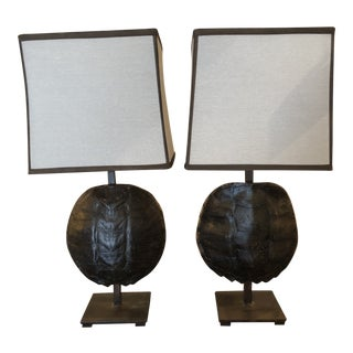 Vinatge Tortoise Shell Lamps - a Pair For Sale
