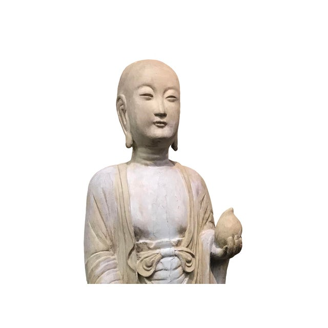 Figurative 19th Century Hardwood and Polychrome Buddhist Figure For Sale - Image 3 of 5