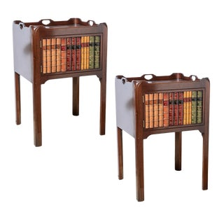 English Style Faux Book Front Mahogany Nightstands - a Pair For Sale
