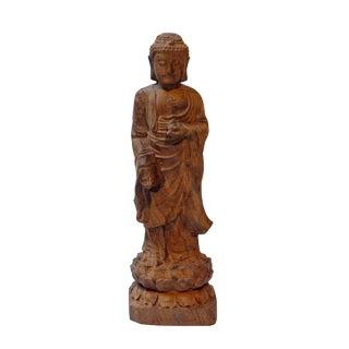 Hand Craved Rosewood Standing Shakyamuni Buddha For Sale