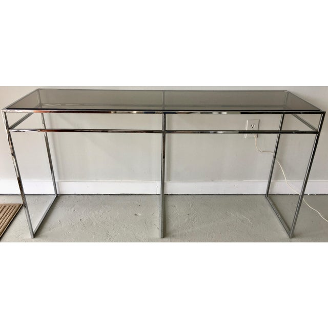 Mid-Century Modern Milo Baughman Chrome and Smoked Glass Console For Sale - Image 3 of 6
