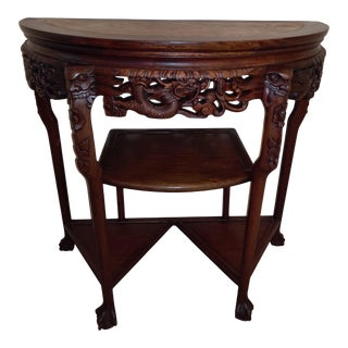 1950s Chinese Antique Rosewood Demilune Marble Top Console For Sale