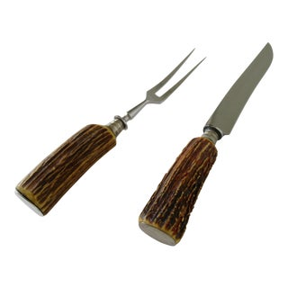 Vintage Solingen, German Stag Handled Cutlery Serving Knife & Fork -Set of 2 For Sale